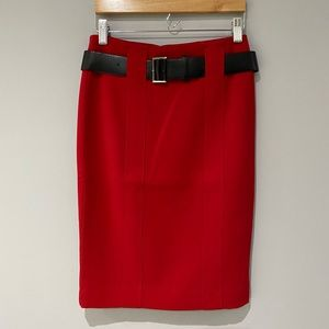 NWOT Le Chateau Red Pencil Skirt